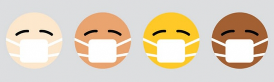 Cartoon faces of all different colors wearing masks for pandemic holiday happiness.