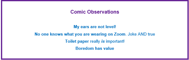 Box stating comic observations learned from a pandemic: ears not level, no one knows what you are wearing on zoom, toilet paper really is important, boredom has value