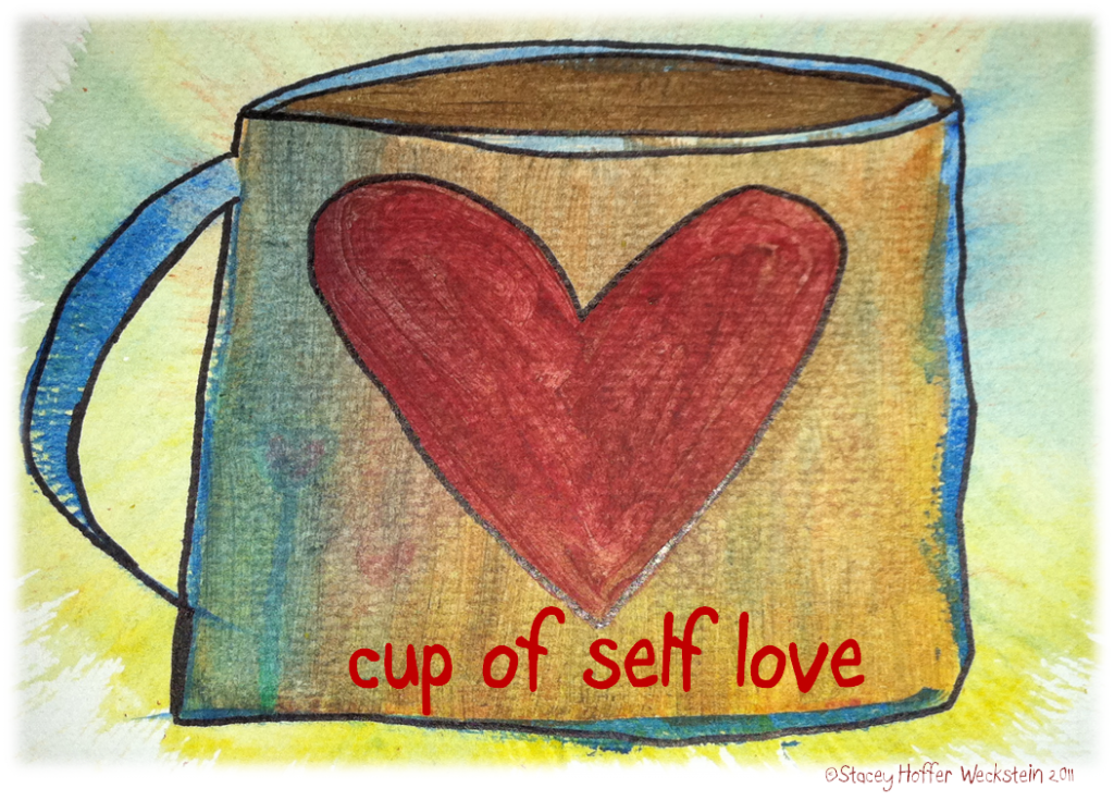 Act happy week, day 2 - feed your soul: a drawing of a mug with a heart that reads, cup of self love