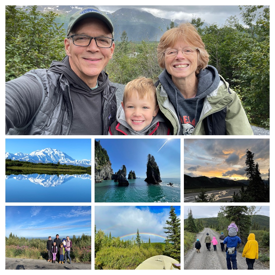 alaska collage of glaciers, mountains, rainbows, relaxed family time, hike, smiling family, no stress